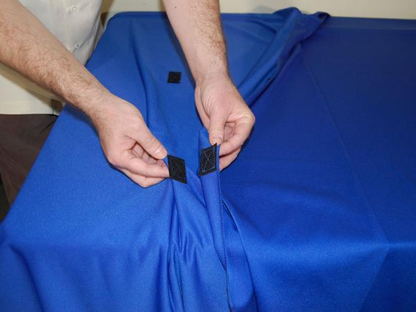 Convert-A-Throw Option - Velcro Tabs (3) at each end shorten throw from 8ft to 6ft - Not Included - please specify when ordering