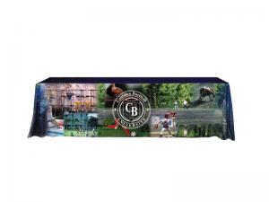Solid Color Twill 8ft Table Throw with Full Front Dye Sublimation Image - Photo style images possible on front of throw