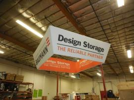 TF-1009 10 ft. x 36 in Tapered Square Aero Overhead Hanging Sign with Graphics and Liner -- Image 1