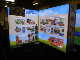 Multiple SuperNova LED Lightboxes with SEG Fabric Graphics for an Island Design