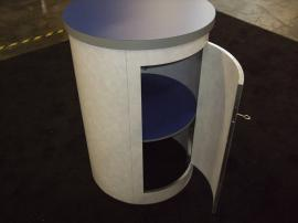 Euro LT Custom Modular Display with Peninsula Counter and Round Pedestal -- Image 4