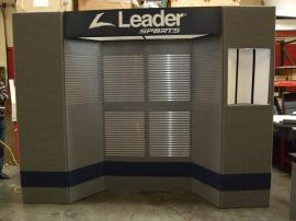 Intro Folding 12 Panel Display with Slatwall, Header, Lightbox, and DI-608 Pedestal -- Image 1
